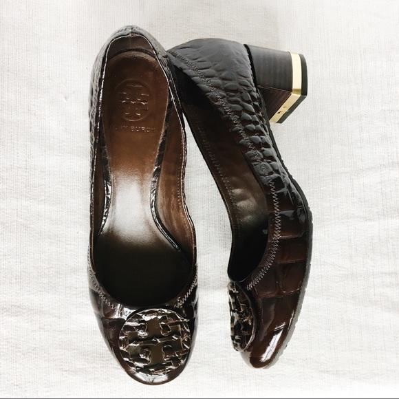 89b55e5c2 Tory Burch Crocodile Brown Patent Leather Pumps 8.  M_5af7355572ea886c6f81f3f2